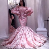 Blush Pink Prom Dress Mermaid Long Sleeves Formal Evening Dress African Aso Ebi Party Gowns Custom Size