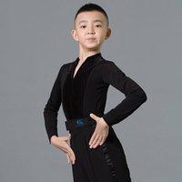 Bühnenkleidung Mode lateinische Tanzkostüme für Jungen schwarze langarm Nähte Samthemden Ballsaal Chactrainer Praxis DN7118