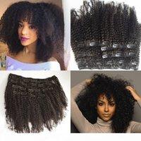 Clip kinky in clip vergin capelli 100g 120g 7pcs naturale nero brasiliano clip ricciacido brasiliano nelle estensioni dei capelli umani
