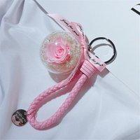 로맨틱 크리 에이 티브 천연 영원한 장미 꽃 키 체인 여성 소녀 PU 가죽 꼰 밧줄 열쇠 고리 열쇠 고리 발렌타인 선물