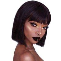 Человеческие волосы парики короткие боб парик бразильские прямые волосы волосы 150% плотность ни один кружевной фронтские парики бесстые машины сделаны парик для женщин