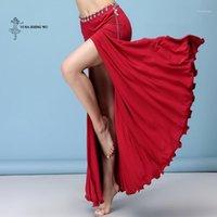 Etapa desgaste adulto mujer vientre trajes bailando practicar ropa modal dama sexy danza larga falda lateral dialwear 1