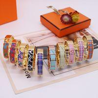 Bracelet de mode Femme colorée en émail Bracelets de mode pour homme Femme Bijoux Bracelet Bijoux 10 Couleur En option avec boîte