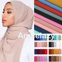 10 teile / los Frauen Chiffon Schal Ebene Blase Chiffon Hijab Tücher Wraps Kopf Schal Femme Stirnband Muslimische Hijabs Schals Bandanas