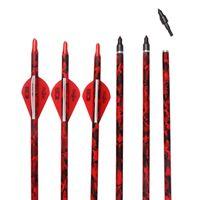 32 polegadas caça arco e flecha de carbono 500-550 espinha 2 vermelho 1 branco penas plásticas Fibra de carbono arrow Inserir Broadheads