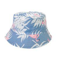 Geniş Brim Şapkalar Çok Renkli Kap Flamingo Palmiye Ağacı Baskı Kova Şapka Bahar Balıkçılık Kadın Erkek