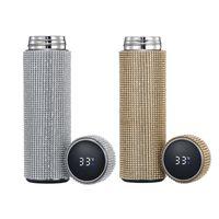 2021 New Smart Diamond Thermos Touch Temperatura Display Acciaio inox Acciaio inox Vacuum Boccetta Bottiglia di acqua Tazza di caffè Thermos Mug 201126
