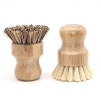 Yuvarlak ahşap fırça kolu pot yemek ev sisal palm bambu mutfak işleri ovma temizleme fırçaları FFD2823