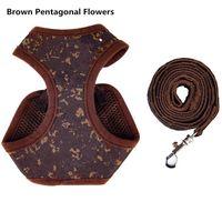 Arnês ajustável trelas para pequeno cão animal de estimação clássico flor marrom bordado bandido fita líder de corda