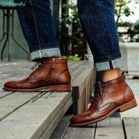 QYFCiouFu 2020 Handgemachte Männer Knöchelstiefel Echtes Leder High Top Vintage Reißverschluss Booties Schuhe Mode Casual Boots1