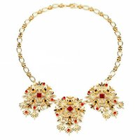 2020 Newest Romantic Female Birthday Gifts Chic Gold Color Bright Flower Dress Statement Necklace For Women Accessories