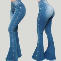 Blue Washed Denim Denim Jeune Jeune Pour Femmes Hiver Spring Vêtements Sommet Skinny Stripe Pantalon Pantalon à paillettes à taille haute Y2K Y1214