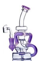 FEB 계란 봉 보라색 유리 물 파이프 Klein Reycler 오일 장비 DAB Heady Glass Water Bongs 기능 14mm Banger와 물 담뱃대 Shisha