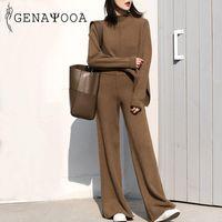 Tracksuits da donna Genayooa Cashmere Set di due pezzi Top e pantaloni 2021 Inverno Coreano Donne da donna Tracksuit Casual 2 Set Outfits