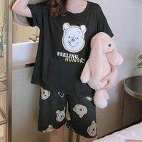 Ropa de dormir de las mujeres caiyier mujeres delgadas pijamas fijadas 2021 verano de dibujos animados oso de manga corta niña casual ropa de noche O-cuello ocio ocio homewear1