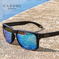 Caponi 블루 미러 선글라스 남자 TR-90 프레임 편광 된 자외선 컷 Lende Eyewear 빈티지 패션 스퀘어 남성용 태양 안경 CP9417