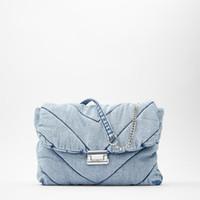 Vintage Mavi Denim Kadınlar Omuz Çantaları Tasarımcı Kot Çanta Lüks Zincirler Crossbody Çanta Büyük Kapasiteli Attaklar Kadın Çanta