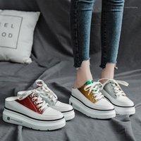 브랜드 패치 워크 노새 여자 플랫폼 웨지 슬리퍼 크로스 스트랩 라운드 발가락 펌프 슬립이 높이는 신발 크기 35-40 Sandalias Mujer1