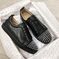 2019 الأزياء باريس أحذية رجالية أحذية رياضية حمراء أسفل حذاء منخفض رانتولو أورتلو المسامير قبالة جونيور البيج / أسود / أبيض مصنع بالجملة