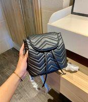 G 2021 Yeni Lüks Tasarımcı Mektup Elmas Kafes Mektubu Kadın Moda Sırt Çantası Çanta Düz Metalik Geometrik Dize Kova Çanta