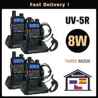 الأصلي baofeng uv 5r alkie talkie real 8 watts uv-5r الفرقة المزدوجة UHF VHF تسليم سريع من إسبانيا روسيا ضمان سنة واحدة
