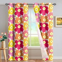 DARMIAN Blue Poppy Flower Fabric Print Curtain Home Window D...