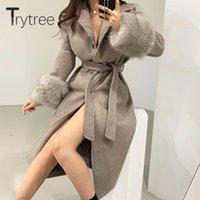 Женская шерстяная смесь Trytree 2021 осень зима женщины Tweed повседневная лоскутное искусственное из искусственного меха рукава ремень куртка сплошной офис леди длинное пальто