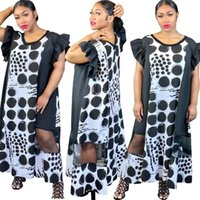 여성 캐주얼 맥시 드레스 봄 여름 옷 섹시한 클럽 우아한 인쇄 폴카 도트 세련된 짧은 소매 크루 넥 저녁 파티 드레스 0666