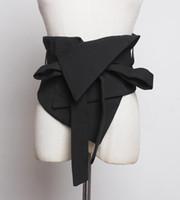 Moda Mujeres Cinturones Black Traje Tela Corsé delgado Corsé Camisa Vestido Cinturones Auto-corbata Arco Irregular Cintura ancha Cesto Cesto