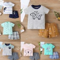 طفل الفتيان قصيرة الأكمام الأعلى + السراويل تتسابق الصيف 2021 ملابس الأطفال بوتيك 9-36 متر ليتل بويز القطن عارضة 2 قطعة