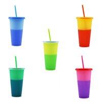 720ml Fleck PP Stroh warme Kunststoffwechselkunststoff und Tasse Deckel Farbe Trinkfarbe Feste kalte Cup mit Wechseldefinierte KRXGK
