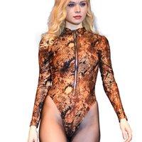 여성용 Jumpsuits Rompers 섹시한 얼음 실크 뱀 카모 하이 컷 Bodysuit 지퍼 오픈 O 넥 홀터 코르셋 테디 끈 롱 서플 레브 플러스 크기