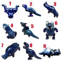 Fashion Style Style Glass Boaking Tubi Dinosaur Tabacco Tubo a mano Spessa Blu scuro Accessori per fumo blu scuro Inizia tubi 9 stili