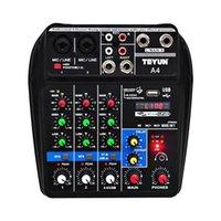 USB صوت خلاط TU04 BT 4 قنوات الصوت خلط لوحات المفاتيح مكبر للصوت سجل صوتيات مصغرة خلاطات للأداء مرحلة الأسرة K أغاني
