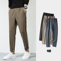 Мужские штаны Мужская зимняя мода повседневная грузовое свободное британский стиль бизнес шерстяная уличная одежда брюки 3 цветной костюм
