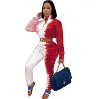 Bandaj Bayan Giysileri Moda Lepal Boyun Bayan İki Parçalı Pantolon Rahat Kravat Boyası Baskılı Bayan Eşofmanlar Ince