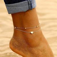 Basit Kalp Ayak Bileği Katmanlama Kolye Halhal Boncuklu Ayak Takı Yaz Plaj Halhal Ayak Ayak Bileği Bilezikler Kadınlar için Bacak Zinciri1