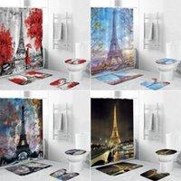 برج ايفل 3d دش الستار باريس المشهد الستائر الحمام مجموعة عدم الانزلاق السجاد غطاء المرحاض غطاء حصيرة السجاد ديكور المنزل 1