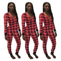 Frauen Bodysuit Overall Plaid Strampler Sexy V-Ausschnitt Patchwork Jumpsuits Karierte einteilige Hosen Einsen Siamesische Hosen Pyjamas E120803