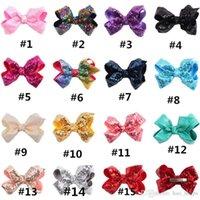 Sequins Girls Hairclip Sparkly Rainbow Jumbo Bow Barnettes 12 см Bowknot Sequin Clip для детей Русалка для волос для волос