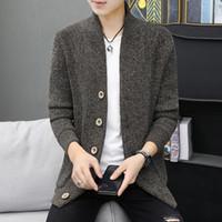 الرجال مصممي البلوزات الخريف / الشتاء معطف الخندق في فصل الشتاء الطويل الطلاب الكورية الذكور سليم الرجال الشنيل الوقوف طوق محبوك معطف