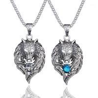 1 قطع نورس الفايكنج قلادة قلادة نورس الذئب رئيس قلادة الأصلي الحيوان مجوهرات الذئب رئيس هانج كريستال القلائد collares1
