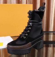 Kadın Deri Laureate Platformu Çöl Çizmeler Moda Lady Yama 5 cm Tıknaz Topuk Kauçuk Outsole Patik Kız Martin Boot
