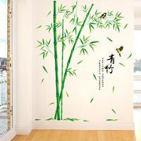 [Shijuehezi] Pegatinas de pared de bambú verde PVC Material de PVC DIY Estilo chino Planta Mural Calcomanías para la sala de estar Decoración de dormitorio 201202