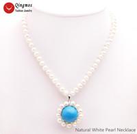 """Collane del pendente Qingmos Collana di perle di Qingmos per le donne con 6mm bianco 18mm blu turchese gioielli in pietra 17 """""""