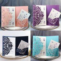 Tarjetas de invitación de boda Kits Spring Flower Cut Cut Bolsillo Tarjeta de invitación de novia para el compromiso Graduado Fiesta de cumpleaños 10 P2