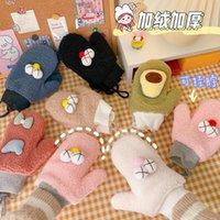 Nouveaux gants de chaleur d'hiver mignon Full Finge Corée fille dessin animé beau coton corde gants mode mignon suspendu enfants