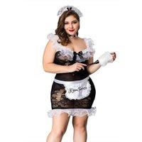 Grande Uniforme Fat Lady Cameriera Set Plus Size Cosplay nero cinque Lingerie per donne erotica Porno Hot 03 #