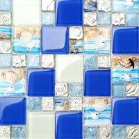 Fondos de pantalla Resina mariscos playa azul rosa verde blanco cristal vidrio mosaico azulejo baño lavabo fregadero Backsplash TV fondo de pared Tile1