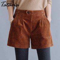 Tataria 5XL Hohe Taille Cord Shorts für Frauen Herbst Winter plus Größe Shorts Frauen Streetwear Vintage mit Taschen